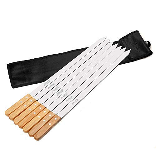 Goutime Kabob Skewers 23 Inch Long,1 Inch Wide Stainless Steel Grilling BBQ Skewer with Wood Handle for Making Koubideh Persian Brazilian Chicken Shrimp Kebab,Set of 7 with Bag