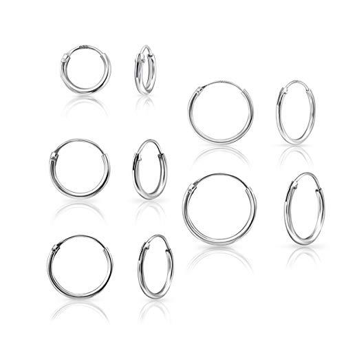 DTP Silver - Set da 5 paia di Orecchini da donna a Cerchio- Argento 925 - Spessore 1.2 mm, Diametro 8, 10, 12, 14, 16 mm