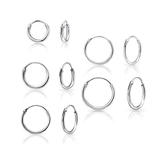 DTPsilver - Damen - 5 Paare Ohrringe 925 Sterling Silber - Dicke 1.2 mm - Durchmesser 8, 10, 12, 14, 16 mm