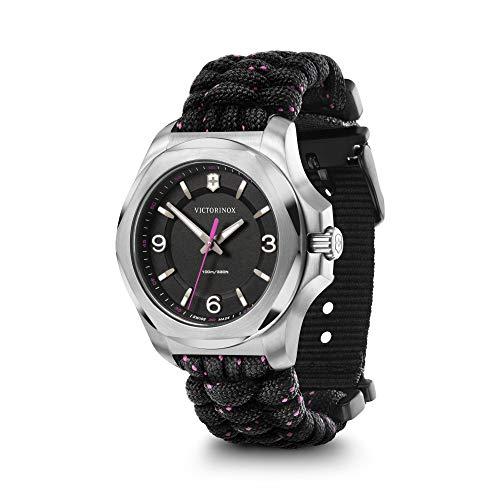 Victorinox I.N.O.X. V 241918 - Reloj de pulsera para mujer con esfera negra y correa de paracaídas negra