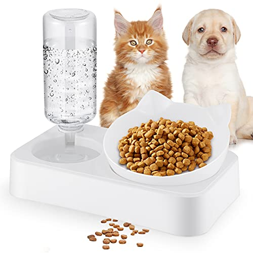 Gomyhom Cat Dishes for Food and Water,Detachable Gravity Bowl Dog Food Feeder,Widening Sink Non-Spill Bowls for Cats and Small Dog-23.5X12X21cm(S)