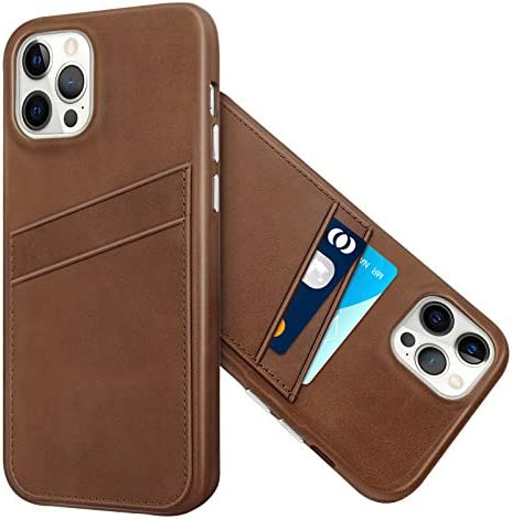 LUCKYCOIN Case for iPhone 12 Pro Max Leather with Card Holder Handcraft Vintage Cover with Metal product image