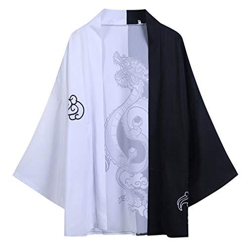 Yowablo Herrenhemd Regular-Fit, Langarm,Sommer japanische Fünf-Punkt-Ärmel Kimono Herren und Damen Umhang Jacke Top Bluse (XL,1Schwarz)