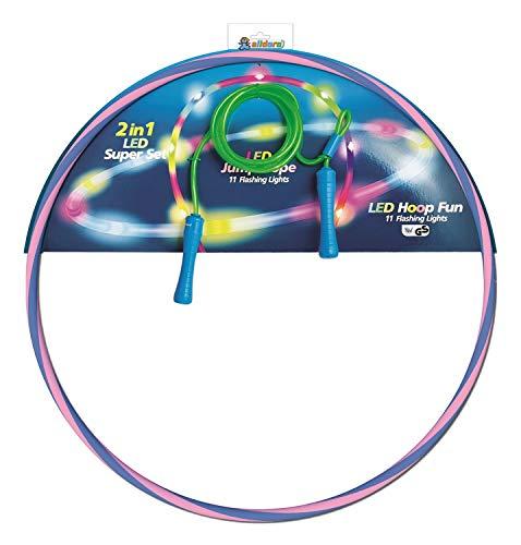 alldoro 60088 2er Set, 1 Hoop Fun Reifen Ø 72 cm & 1 Jump Rope ca. 2,4 Meter, Hoopreifen & Springseil mit LEDs und Licht, Sportspielzeug für Kinder ab 4 Jahren & Erwachsene, Farben Sortiert