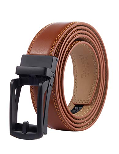 Tonywell Mens Leather Ratchet Belts with Open Buckle Perfect Fit Dress Belt 30mm Wide - brown - One size/32/45'Waist