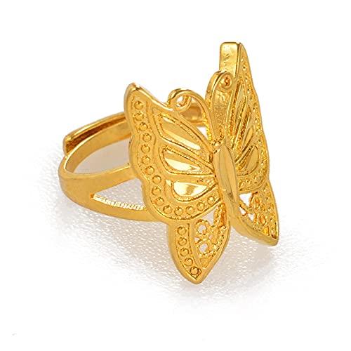 Anillo de mariposa en tono dorado, tamaño ajustable para mujeres, joyería de insectos de moda, regalos PNG