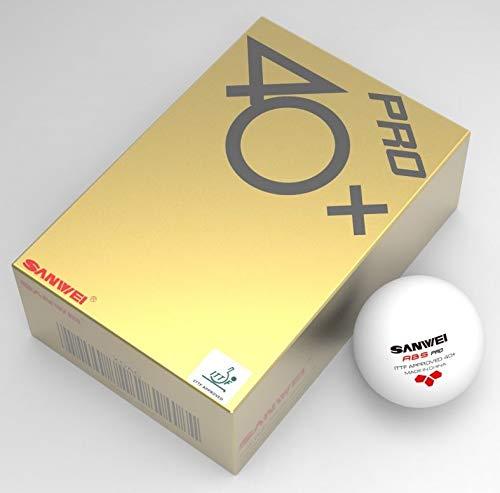 SANWEI 3 Star Tischtennisbälle, ABS, Weiß, 6 Stück, zugelassen für ITTF-Wettkämpfe