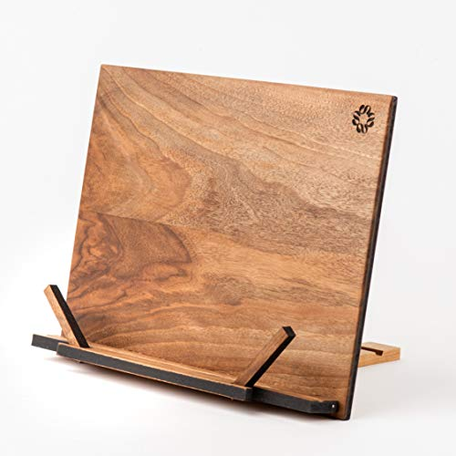 TILISMA Handmade Wooden Book Stand - Walnut Book Holder for Reading Hands Free - Recipe and Cookbook Holder for Counter - All Wooden Fancy Tablet Stand - Must Have Book Accessory for kitchen