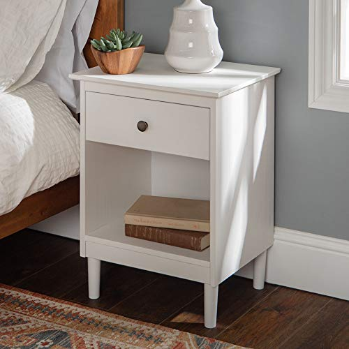 Walker Edison Furniture Company Traditional Wood 1 Nightstand Side Bedroom Storage Drawer and Shelf Bedside End Table, 18 Inch, White