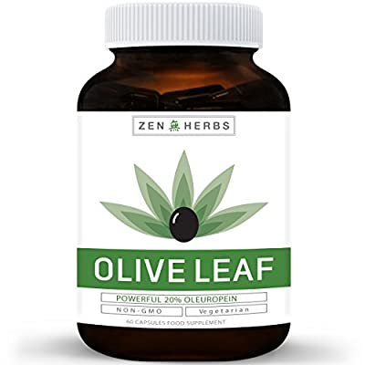 Best Olive Leaf Extract (NON-GMO) Super Strength: 20% Oleuropein - 750mg - Vegetarian - Immune Support, Cardiovascular Health & Antioxidant Supplement - No Oil - 60 Capsules … from Zen Herbs