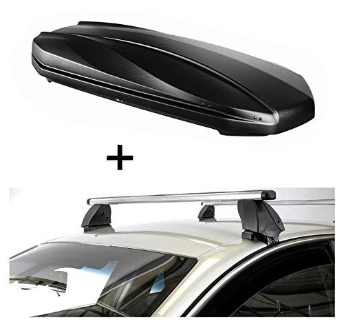 VDP DACHBOX Strike 440 liter mat zwart + imperiaal K1 PRO aluminium compatibel met Peugeot 107 (5-deurs) 05-14