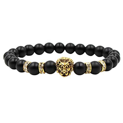 OPAKY 2019 Nuevo Pulsera Moda Simple Negro Frote Plata Antigua Panther Lion Head Hombres y Mujeres Estirar Pulseras
