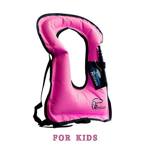Rrtizan Children Portable Inflatable Life Jacket Snorkel Vest Swimming Life Vest for Boys & Girls
