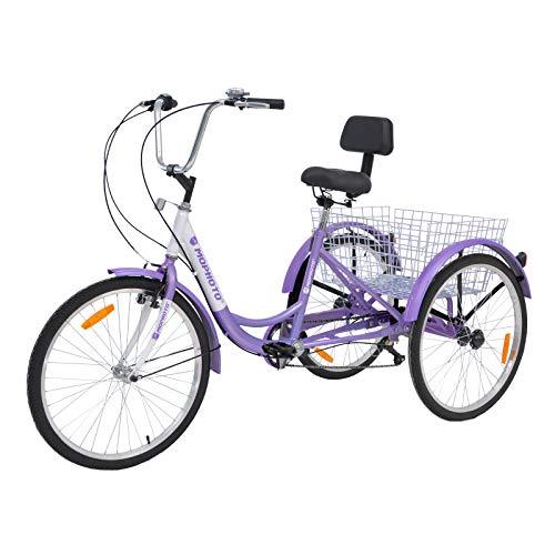 MOPHOTO 24' 7 Speed 3-Wheel Adult Tricycle Trike Cruiser...