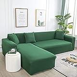 L.TSA Funda de sofá elástica para Muebles, para Sala de Estar Funda de sofá de Licra elástica Funda de sofá elástica en Forma de L-Field_Green_145-185cm, Funda de sillón elástica