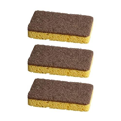 Paquete de 3/6 esponjas de algodón de pulpa natural, reutilizables, biodegradables, limpiadoras, fregadoras, esponja para lavar platos con estropajo para cocina y baño