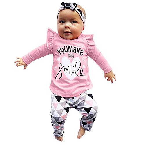 Obestseller Babybekleidung Baby Langarm Top T-Shirt + Hose mit geometrischem Print + 3-teiliges Set mit Haarband Neugeborenen Kleinkind Baby Mädchen Brief drucken Tops
