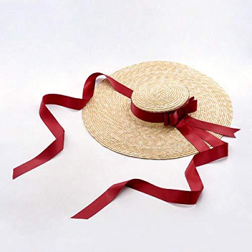 B/H Sombrero de Paja de Las Mujeres Suave Transpirable Decoración Vacaciones,Sombrero de Paja en la Playa Junto al mar-Rojo,Sombrero de Verano de Paja con sombrilla