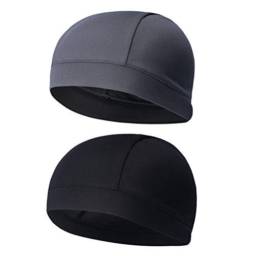 WINOMO 2Pcs Skull Cap Quick Dry Sweat Beanie hohe Elastizität Radfahren Caps (schwarz grau)