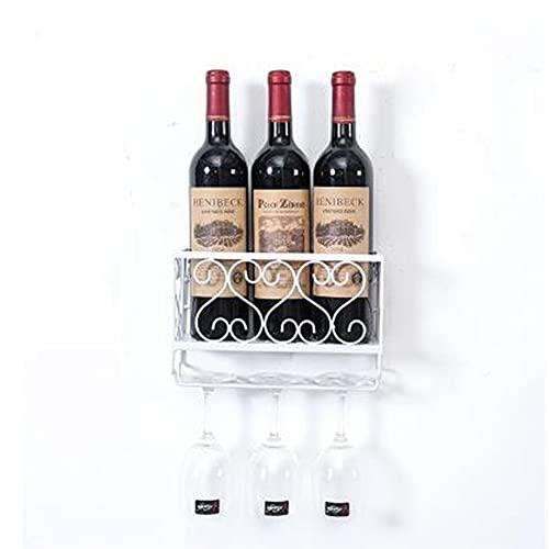 Soportes de pared de hierro para botellas de vino bebidas para adultos soporte para botellas de licor organizador de metal para colgar botellas de vino estante de almacenamiento M+ / white / 25x