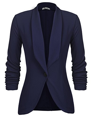 UNibelle Damen Blazer Elegant Tailliert Business Anzug 3/4 Ärmel lang Stickjacke,Navyblau, XXL