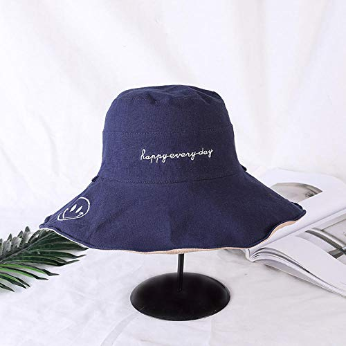 Chapeau Bob Femme Daisy Double-Sided Fisherman Hat Cool Girl S All-Match Casual Bucket Hat Sunbonnet Yellow Hat Randonnée Hat Bucket Hats-Navy_Blue_Smile_One_Size