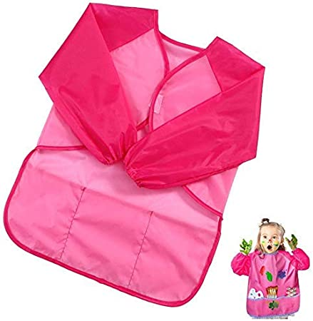 Kids Art Smocks Children Waterproof Play Apron Artist Painting Smocks Long Sleeve with 3 Roomy Pockets,Feeding Apron for Toddler 3-8 Years-Pink