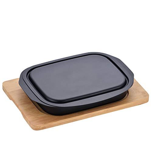 和平フレイズ グリルパン グリル活用角型パン 17×22cm 焼く 蒸す 温め直し 蓋付 敷板付 MD-0091 ブラック