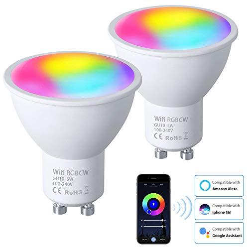 Vicloon GU10 Wi-Fi Lampen, 2 Stück 5W GU10 LED Smart Lampe, Alexa Glühbirne RGB Mehrfarbige GU10 Dimmbare, Kompatibel mit Alexa Echo Google Home, GU10 WiFi Birne mit APP- und Sprachsteuerung