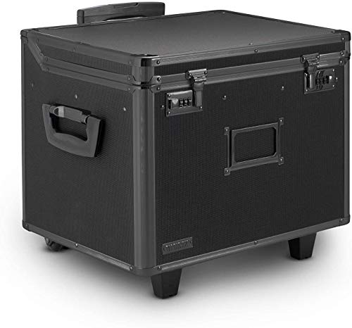 Vaultz VZ00307 Locking Mobile Rolling File Storage Chest, Letter/Legal Wheelie Case, Tactical Black