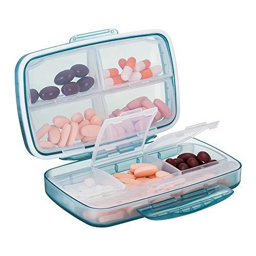 Tablettenbox 8 Fächer, Baoweihua Kleine Pillendose für Reisen im Freien, medikamenten box Feuchtigkeitsbeständigen Bauart