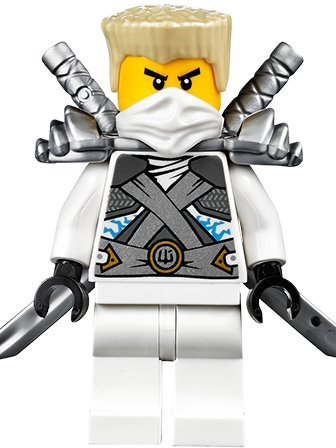 Minifigura de Ninjago de Lego, ninja Zane de titanio con arm