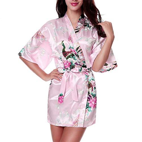 Vige Komfortable Frauen schlafen Kleid Pfau Floral Bedruckt Satin Robe Sexy Silk Nachtwäsche Dessous Sleeping Sleeping Dress