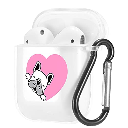 Cute Animal Pets French Bulldog Pattern Clear Case for AirPods 1/2 with Carabiner,Shockproof TPU Case Cover for AirPods 1/2 Charging Case,Soft Flexible Protective Transparent Case,Pink Heart