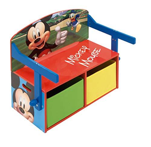 ARDITEX WD12900 3en1 Banco Juguetero de Madera (60x47x56cm) Convertible en Escritorio (60x70x44cm) con Dos cestos Textiles de Almacenamiento de Disney-Mickey