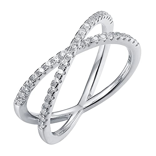 PAVOI 14K Gold Plated X Ring CZ Simulated Diamond Criss Cross Ring (9, White)