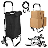 Folding Shopping Cart, Loading Stair Climber Cart with 3+3-Wheels,Capacity Grocery Foldable Cart