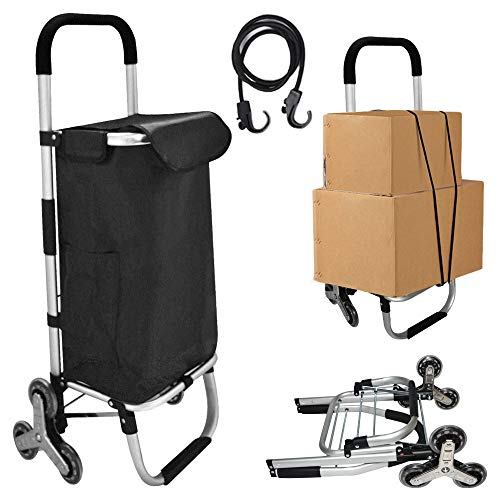 Folding Shopping Cart with Rolling Swivel Wheels, Stair Climbing Cart,Portable Lightweight,Black...