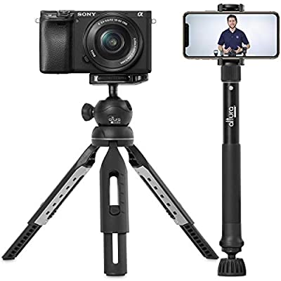 "6 in 1 Monopod Tripod Kit by Altura Photo – Universal 55"" Telescoping DSLR Camera, GoPro, Cell Phone Holder Selfie Stick with Tripod Base, 360 Ball Head and Carry Bag by Altura Photo"