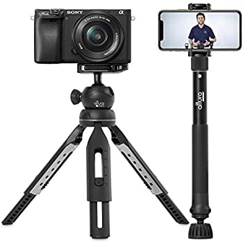 """6 in 1 Monopod Tripod Kit by Altura Photo – 55"""" Telescoping Vlogging Tripod for Camera Smartphone & GoPro Tripod Camera Holder Camera Stick with Pole & Base 360 Ball Head and Carry Bag"""