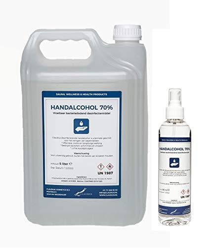 Hand Alcohol Desinfectie Spray 70% Gedenatureerd met IPA, MEK en Bitrex 250 ml + 5 liter