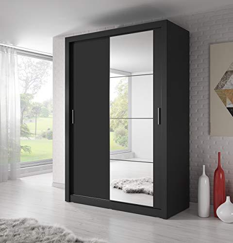 Schwebetürenschrank Kleiderschrank AR-04 ARTI Garderobe Schrank mit Spiegel (SCHWARZ MATT)