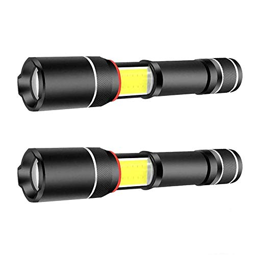 2 Pcs XML T6 LED Flashlight 5000 Lux COB Lantern+ Flashlight in-1with Zoom & Magnetic Base As Seen On TV LED Flashlight Lantern
