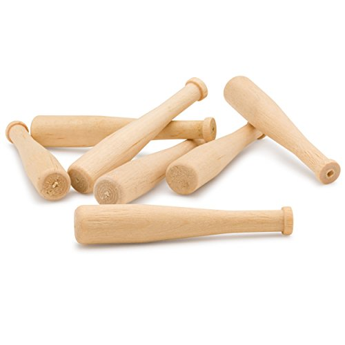 Unfinished Mini Wooden Baseball Bats 2 Inch, Bag of 48 Unpainted Wood Turned Baseball Bats for Scrapbooking and Craft Projects, DIY. by Woodpeckers