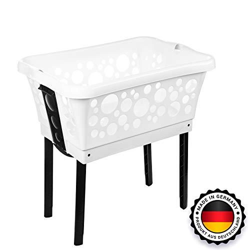 Centi Wäschekorb mit Stand-Automatik - Made in Germany Wäsche Korb mit Beinen Füßen Farben wählbar (weiss)