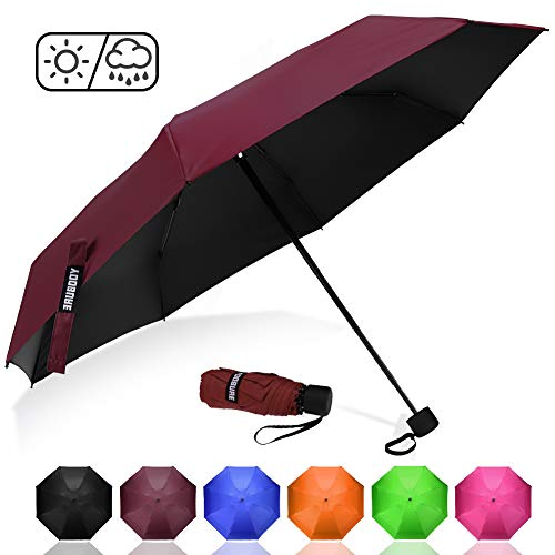 Yoobure Upgraded Mini Travel Sun&Rain Windproof Umbrella - Lightweight Compact Portable Parasol Outdoor Umbrellas
