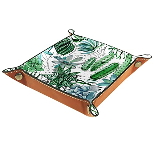 Tablett Leder,Natürliche Pflanzen Sukkulenten Kakteen ,Leder Münzen Tablettschlüssel für Schmuck,Telefon,Uhren,Süßigkeiten,Catchall-Tablett für Männer & Frauen Großes Geschenk