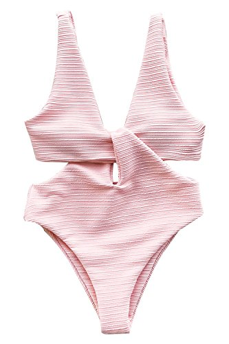 CUPSHE Women's Solid Pink High Waisted One-Piece Swimsuit Shine for U Swimwear Medium