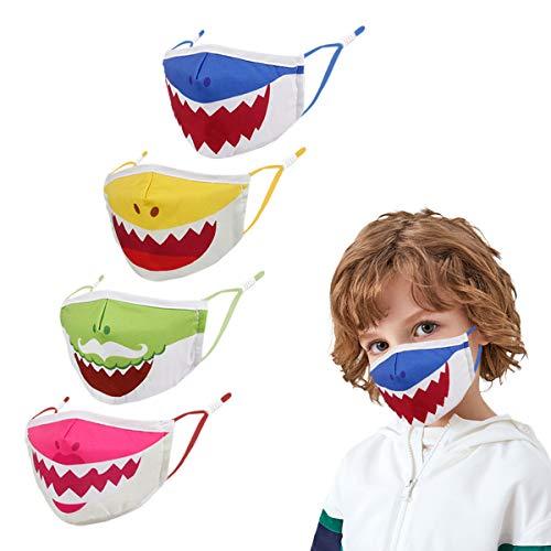 Kids Cute Face Size Mask, Unicorn Anime Animal Shark Halloween Dinosaur Adjustable Reusable Toddler Boys Girls Baby Pink Black Brush Child Children Cotton Youth Lightweight Colorful Breathable (white)