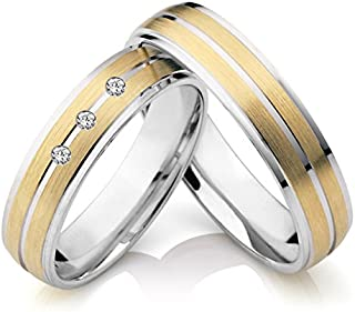 e38c69396 RM Jewellers CZ 92.5 Sterling Silver American Diamond Best Loving Couple  Band for Men and Women